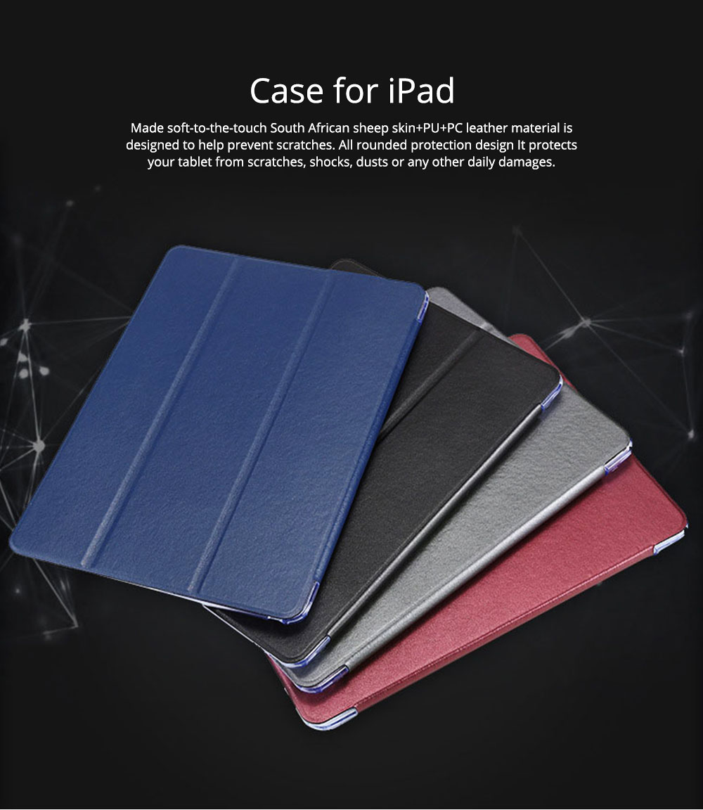 PU Leather Folio Case for iPad Pro 12.9, 10.5, 9.7, Multiple Angles Stand Smart Protective Cover, Trifold Stand Smart Shell Pure Color iPad Case 0