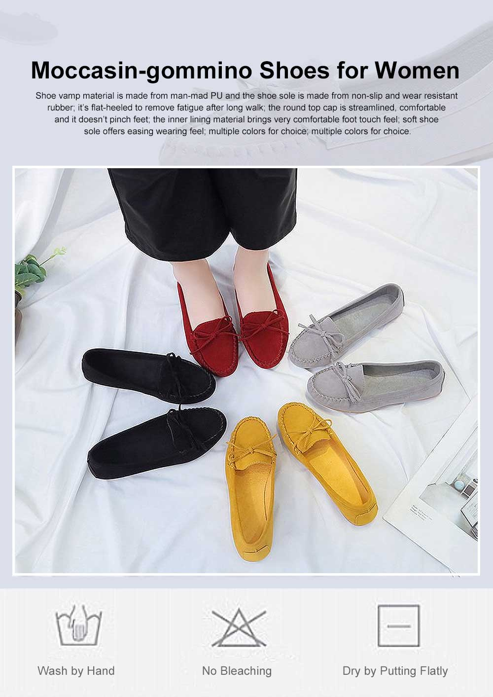 Women's Flat Shoes, Ultra-comfortable Slip-ons Loafers for Ladies, Pregnant Women, Bow Decorated Casual Shoes 0