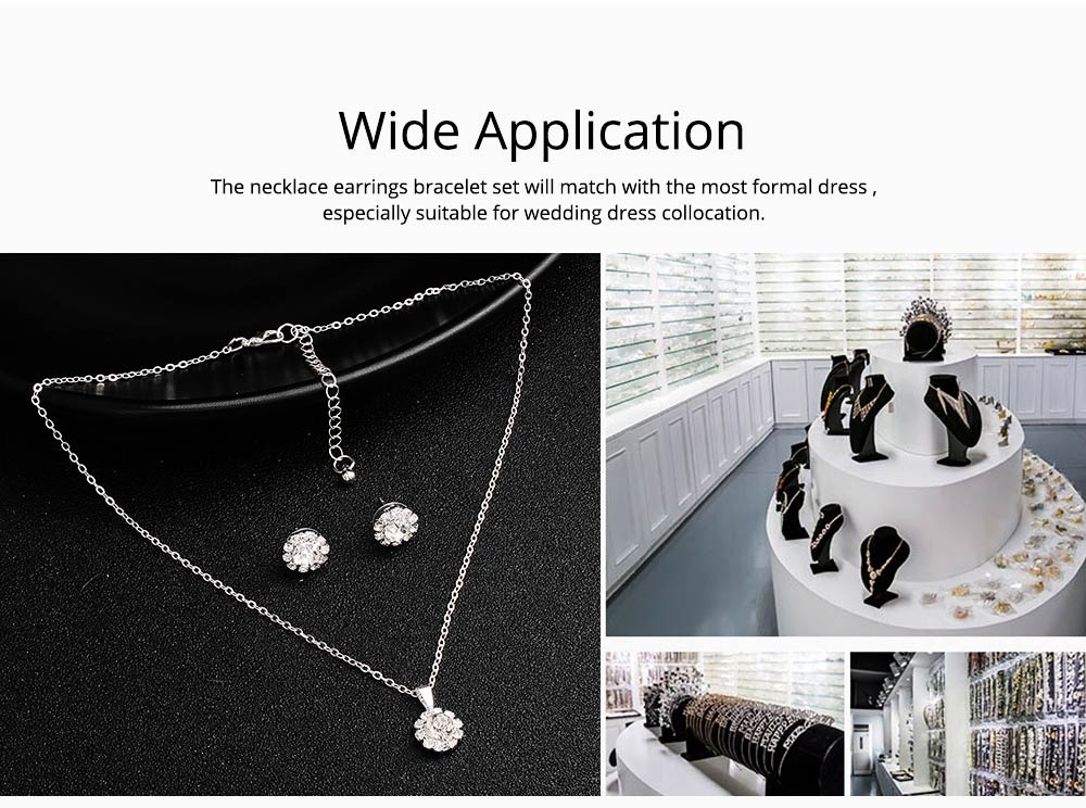 Wedding Bridal Jewelry Set 5 Pack, Women Fashion Accessories with Crystal Necklace, Earrings, Bracelet, Hair Comb 4