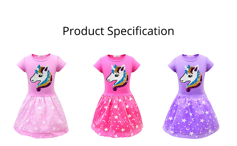 Girl Unicorn Princess Dress, Cute One-Piece Party Outfit Skirt Set, Bubble Skirt for 3-8 Years Old Girls 6