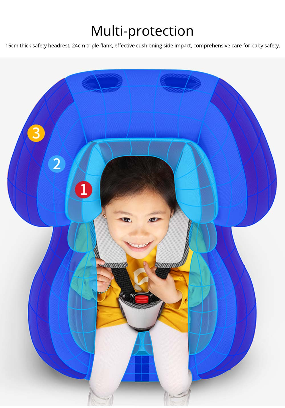 Children's Booster Seat Large Auto Car Seat Protectors for Child, Baby Safety Seat Thick Padding Car Seat 6