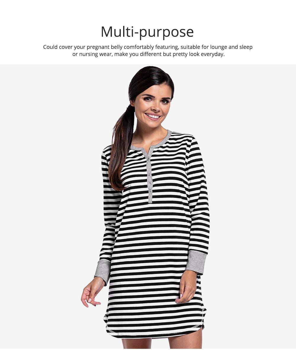 Maternity Dress with Striped, Nursing T-shirt Dress, Loose V-neck Pregnancy Dress Long Sleeve Breastfeeding Top 1