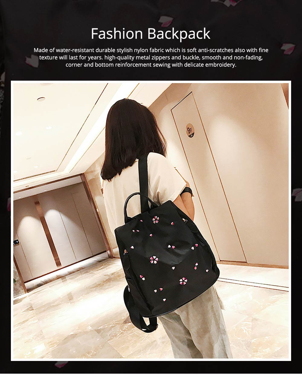 Fashion Black Backpack with Waterproof Nylon, Embroidery Flip Cover Shoulder Bag for Women Zipper Shoulder Bag 0
