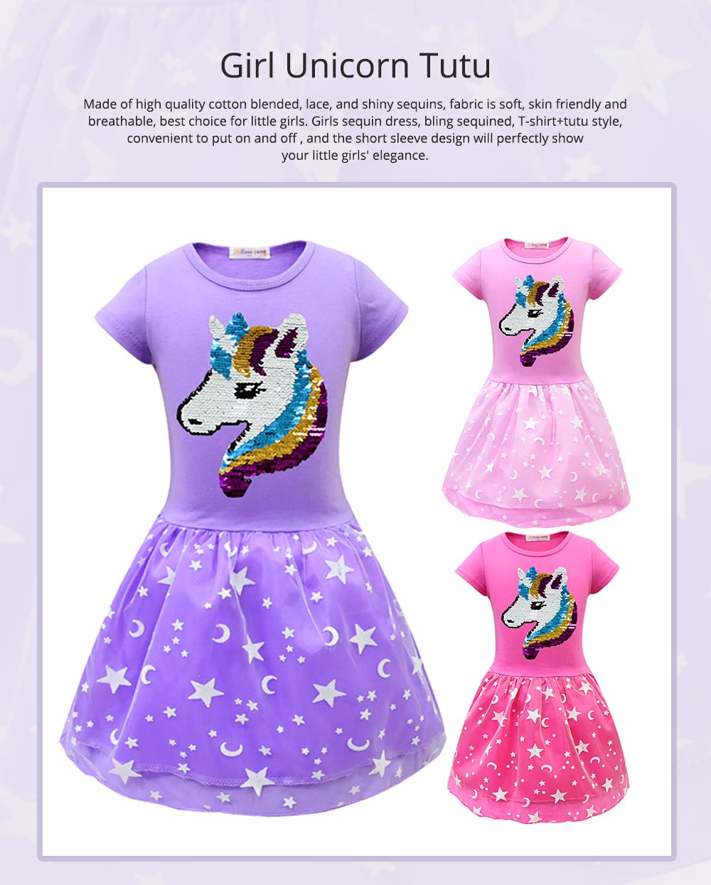 Girl Unicorn Princess Dress, Cute One-Piece Party Outfit Skirt Set, Bubble Skirt for 3-8 Years Old Girls 0