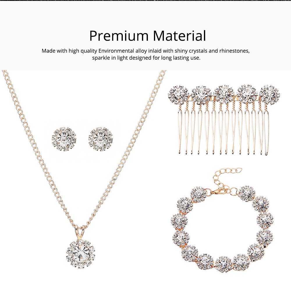 Wedding Bridal Jewelry Set 5 Pack, Women Fashion Accessories with Crystal Necklace, Earrings, Bracelet, Hair Comb 3