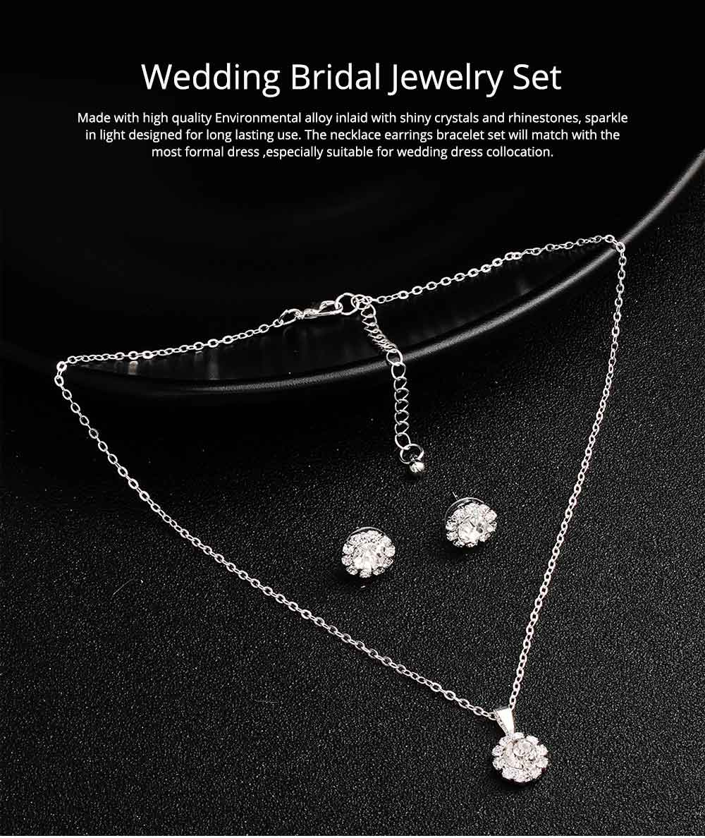 Wedding Bridal Jewelry Set 5 Pack, Women Fashion Accessories with Crystal Necklace, Earrings, Bracelet, Hair Comb 0