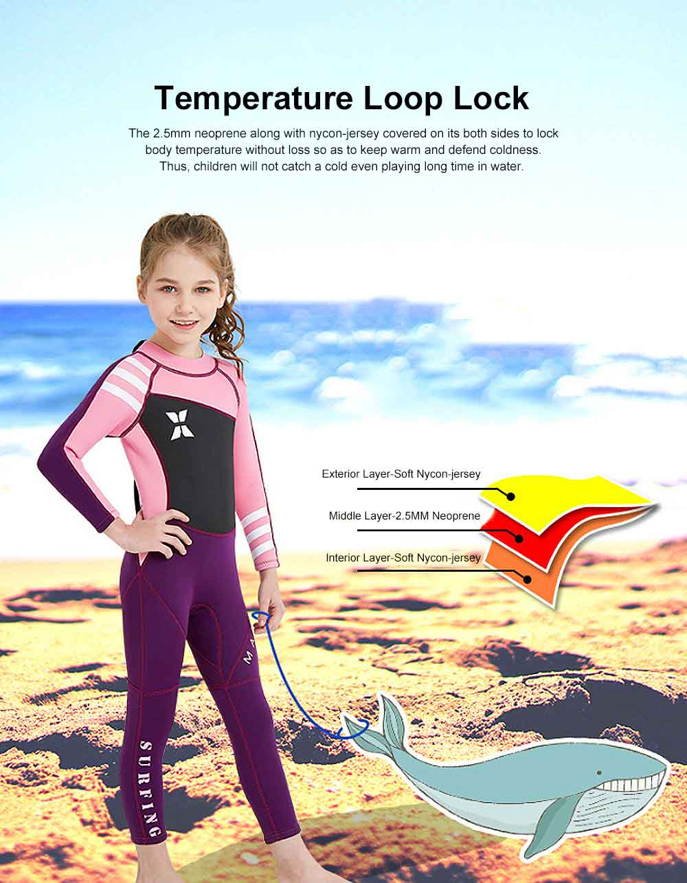 Diving Suit for Girls, 2.5MM One-piece Diving Dress, Thermal Diveing Surfing Dress Snorkeling Jumpsuit, Winter Swimsuit 2019 1
