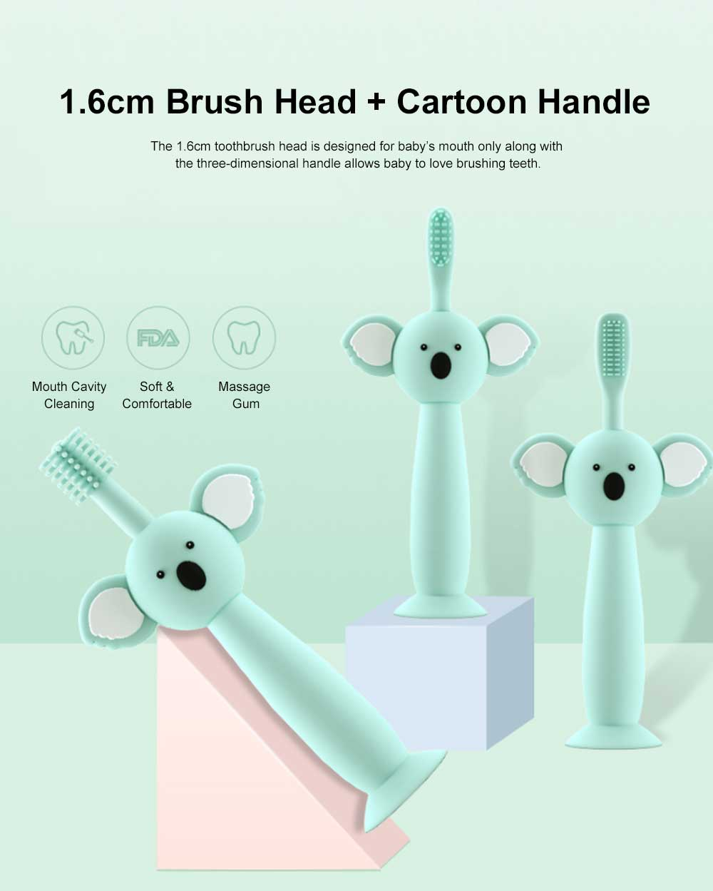 Cartoon Wheat Straw Toothbrush for Babies, Training Toothbrush for 0-3 Year-old Babies, Baby Teeth Cleaning Brush with Toothbrush Cup 5