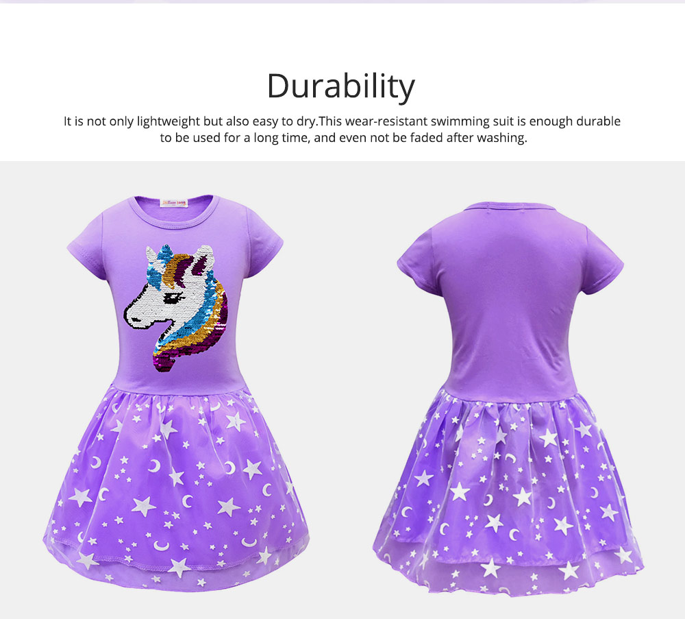 Girl Unicorn Princess Dress, Cute One-Piece Party Outfit Skirt Set, Bubble Skirt for 3-8 Years Old Girls 1