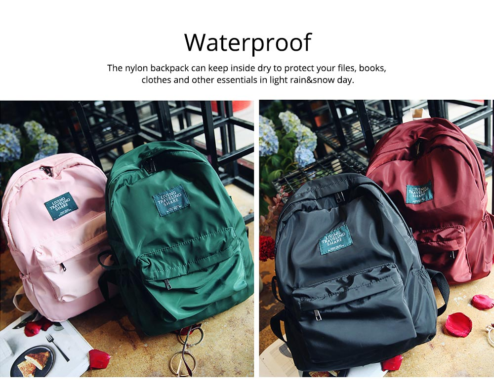 Fashion Backpack with Waterproof Nylon School Bag, Large Capacity Shoulder Bag for Women 1