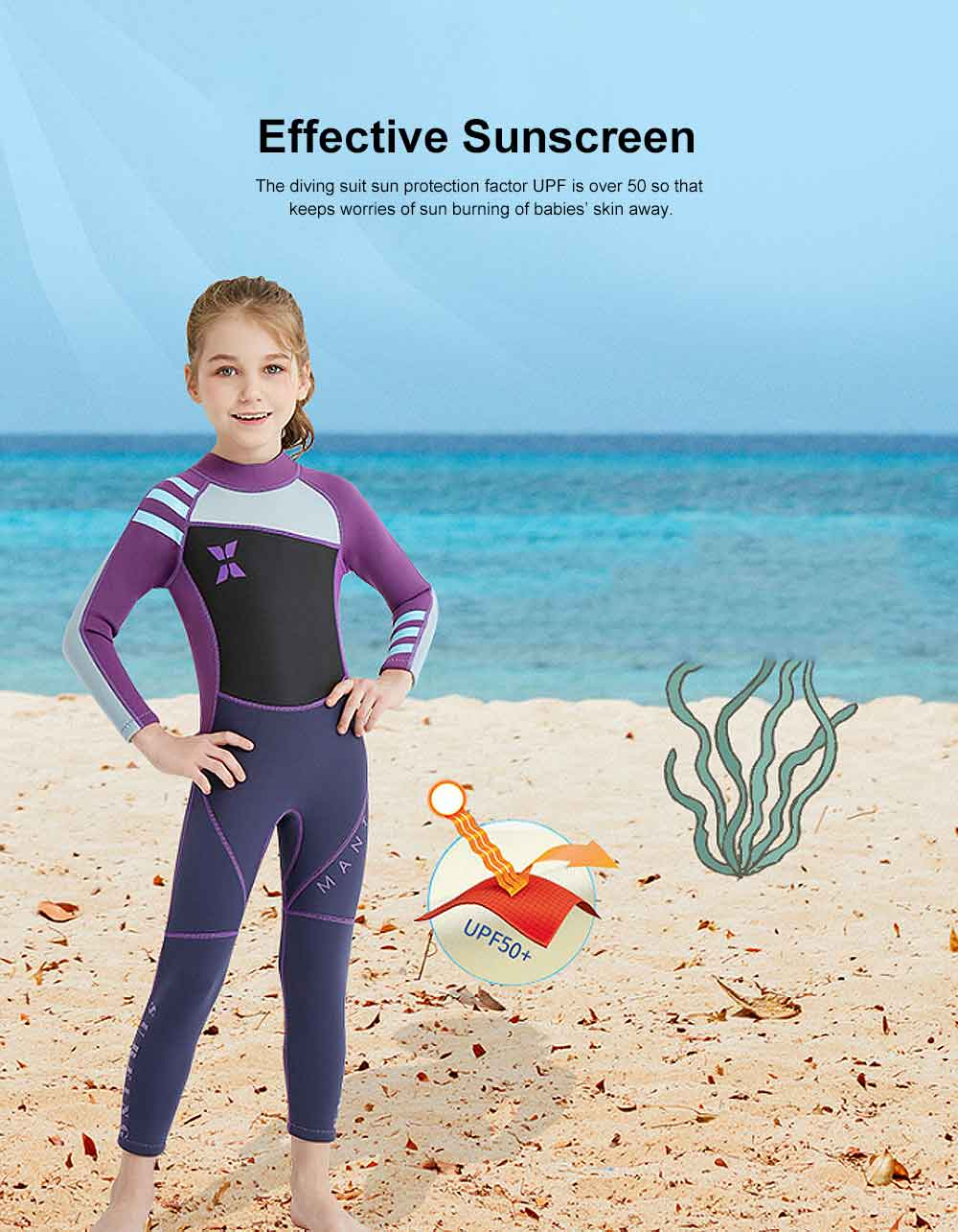 Diving Suit for Girls, 2.5MM One-piece Diving Dress, Thermal Diveing Surfing Dress Snorkeling Jumpsuit, Winter Swimsuit 2019 2