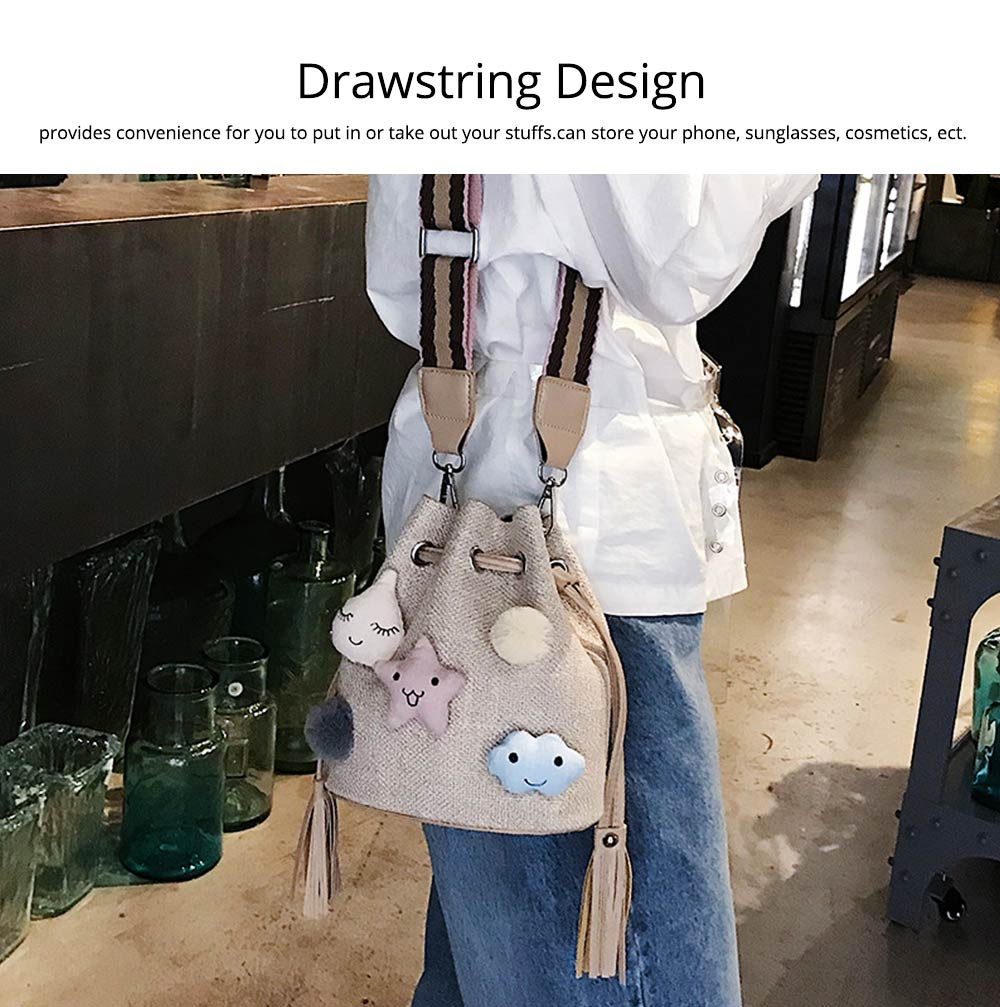 Women Bucket with Straw Shoulder, Drawstring Hobo Beach Travel Bag, Small Doll Crossbody Bag for Lady 2
