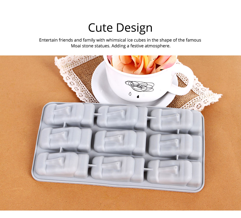 Ice Cube Trays,Silicone Easter Island Ice Tray Box, Ice Cube Molds for Chilled Drinks, Whiskey & Cocktails 5