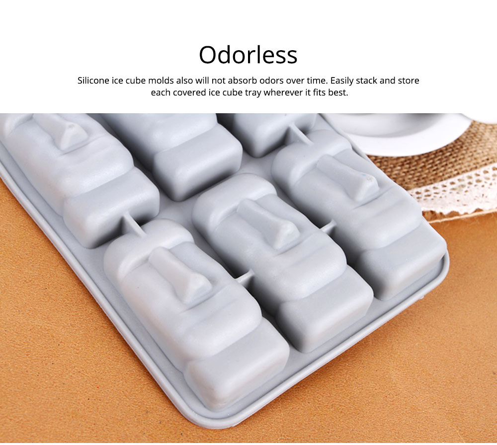 Ice Cube Trays,Silicone Easter Island Ice Tray Box, Ice Cube Molds for Chilled Drinks, Whiskey & Cocktails 4
