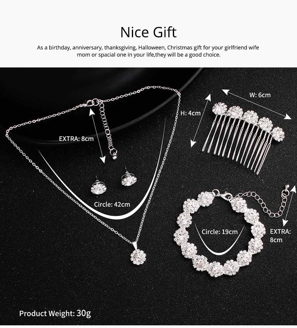 Wedding Bridal Jewelry Set 5 Pack, Women Fashion Accessories with Crystal Necklace, Earrings, Bracelet, Hair Comb 5