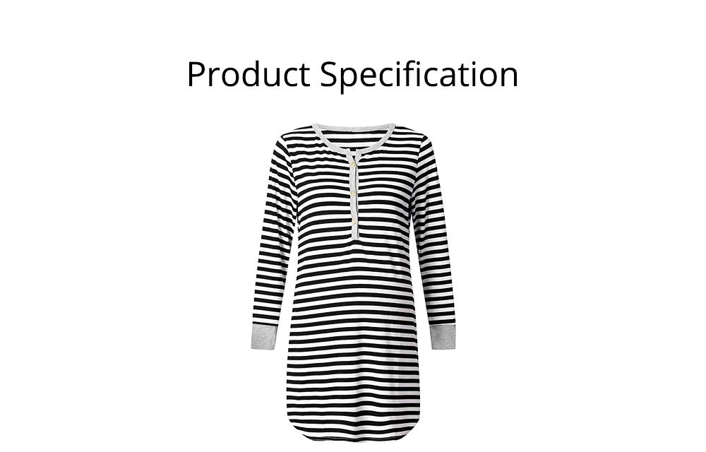 Maternity Dress with Striped, Nursing T-shirt Dress, Loose V-neck Pregnancy Dress Long Sleeve Breastfeeding Top 6