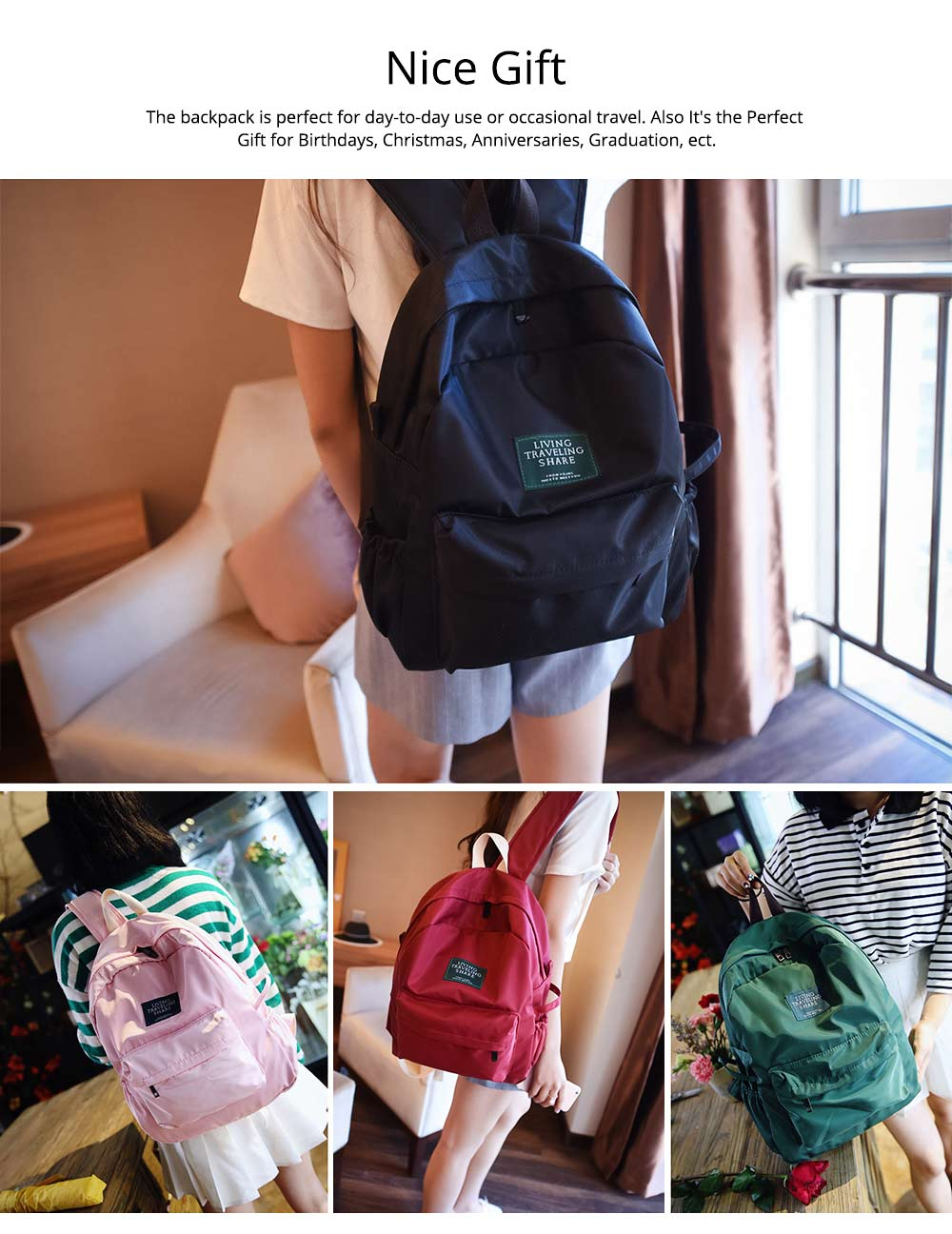Fashion Backpack with Waterproof Nylon School Bag, Large Capacity Shoulder Bag for Women 5
