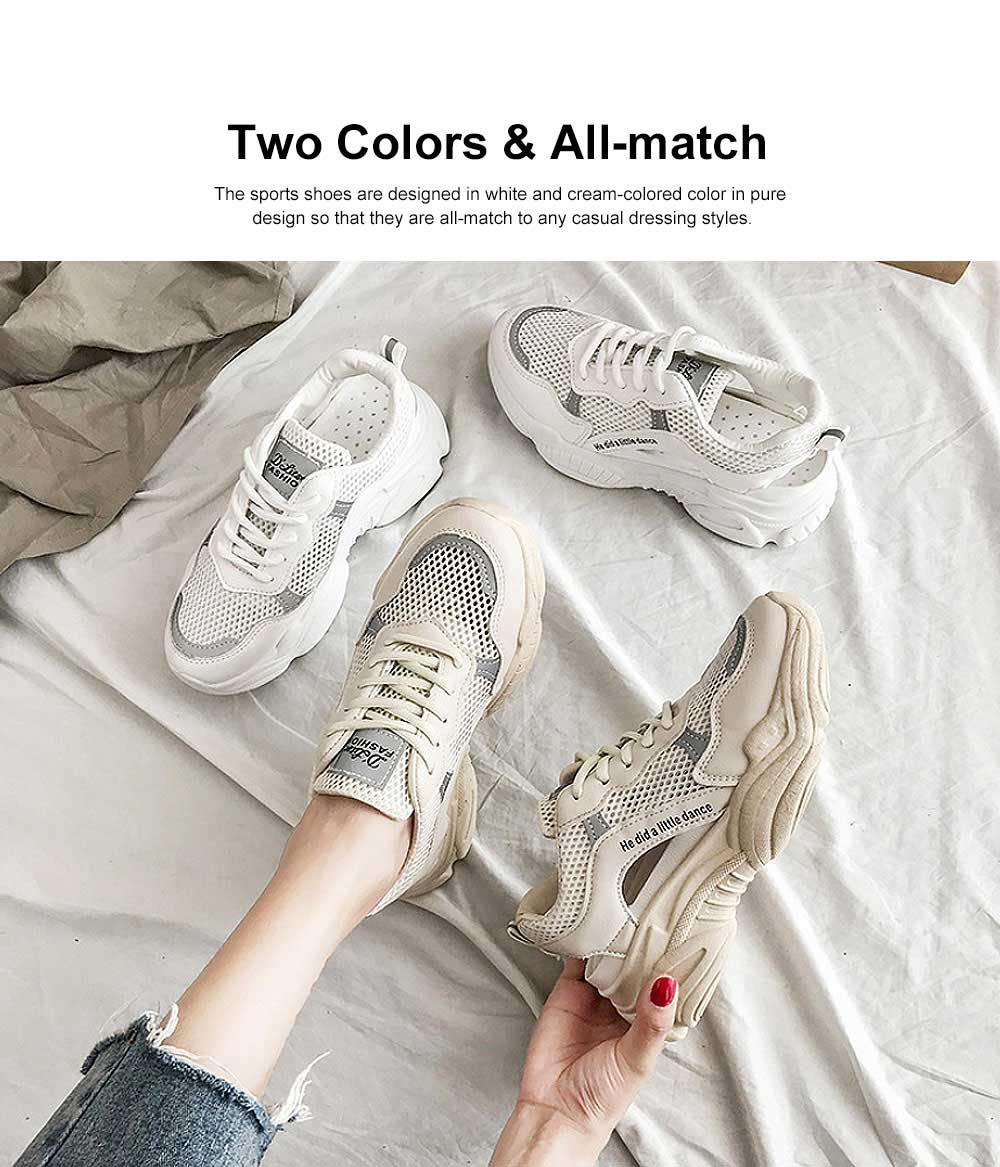 Instagram Clunky Sneakers for Women Student, Mesh Fabric Breathable Torre Shoes, Thick Sole Elevator Shoes 2019 1