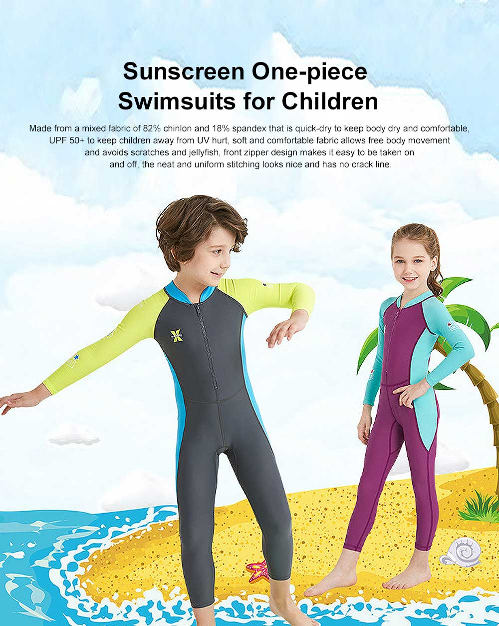New Style Diving Suit for Children, Outdoor Used One-piece Sunscreen Diving Dress, Long Sleeves Quick-dry Children's Swimsuits All Season 0