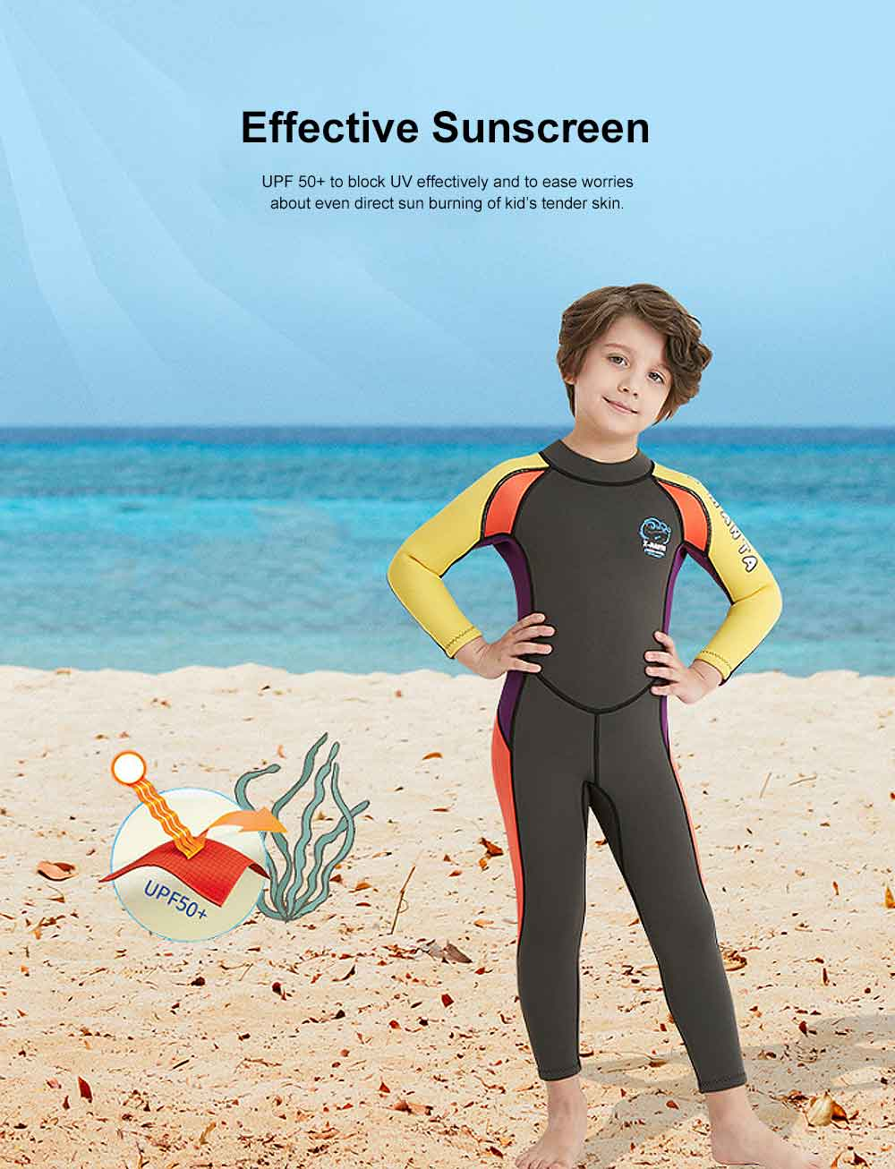 One-piece Boy Diving Suit, Long Sleeve Diving Clothes for Boys, Sunblock Swimsuits Snorkeling 2019 Spring Surfing Swimwear 2