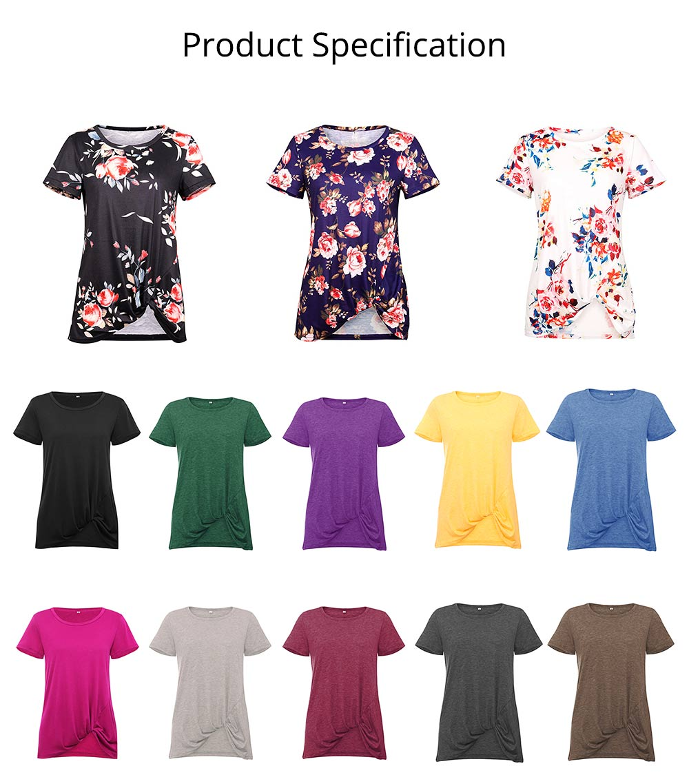 Women's Casual T-Shirt, Short Sleeve Tunic Tops with Front Knot Side Twist, Fashion Summer Blouses 2019 6