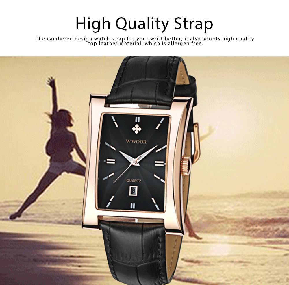 Luxury Wrist Watch for Men, High Quality Leather Strap Watch with Calendar, Waterproof Men's Watch 3