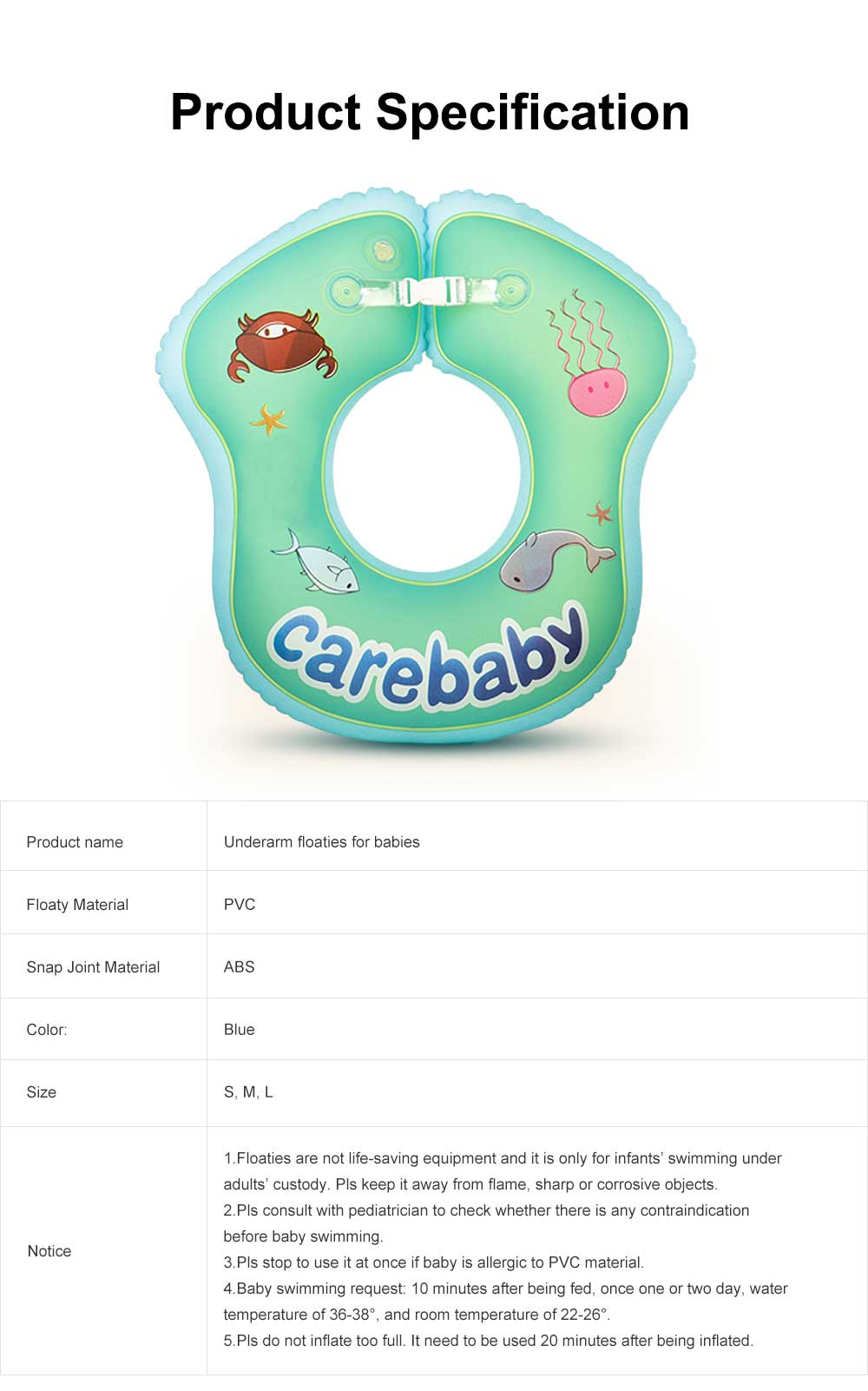 Children's Floating Ring Swim Ring for Baby Swimming, Baby Bathing,Underarm Swim Rings for Children 1 to 6 Years Infants, Newborns Sitting Thickened Floaties 6