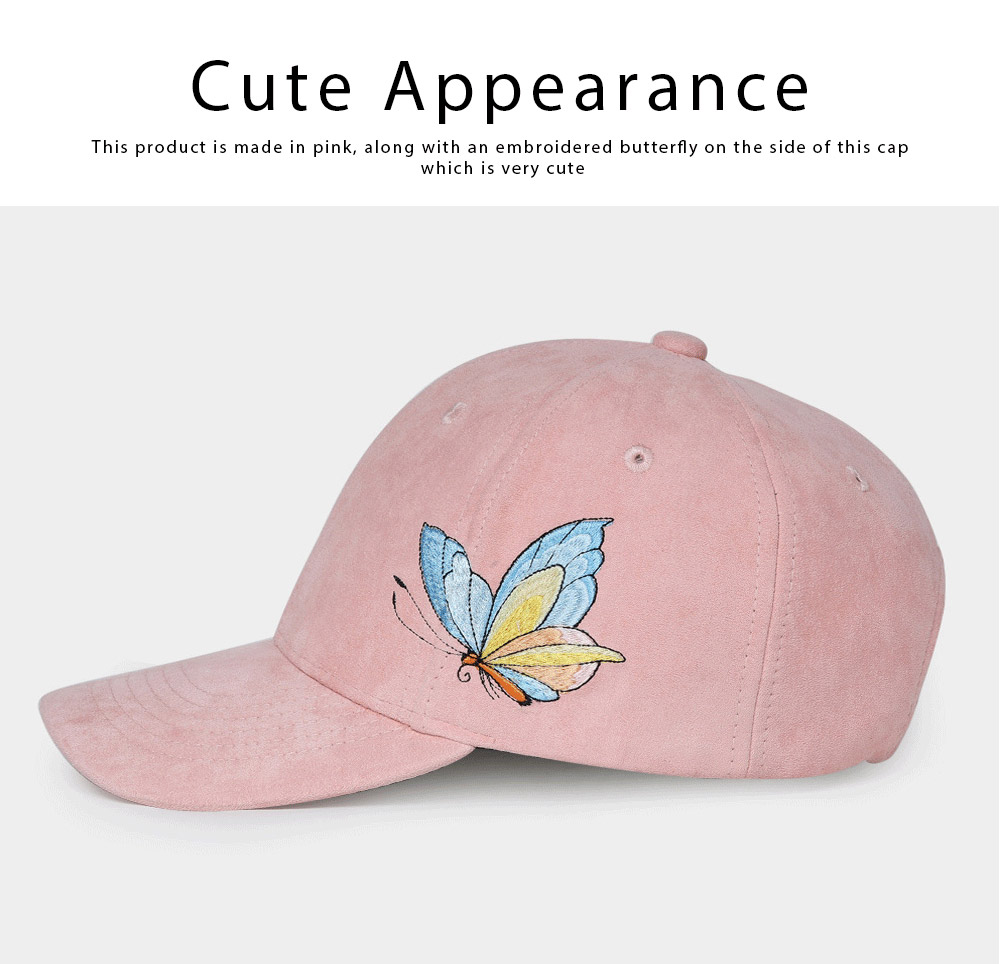 Suede Fabric Material Baseball Cap for Women, Embroidered Thicken Peaked Cap for Winter, Autumn, Butterfly Embroidery Cap 4