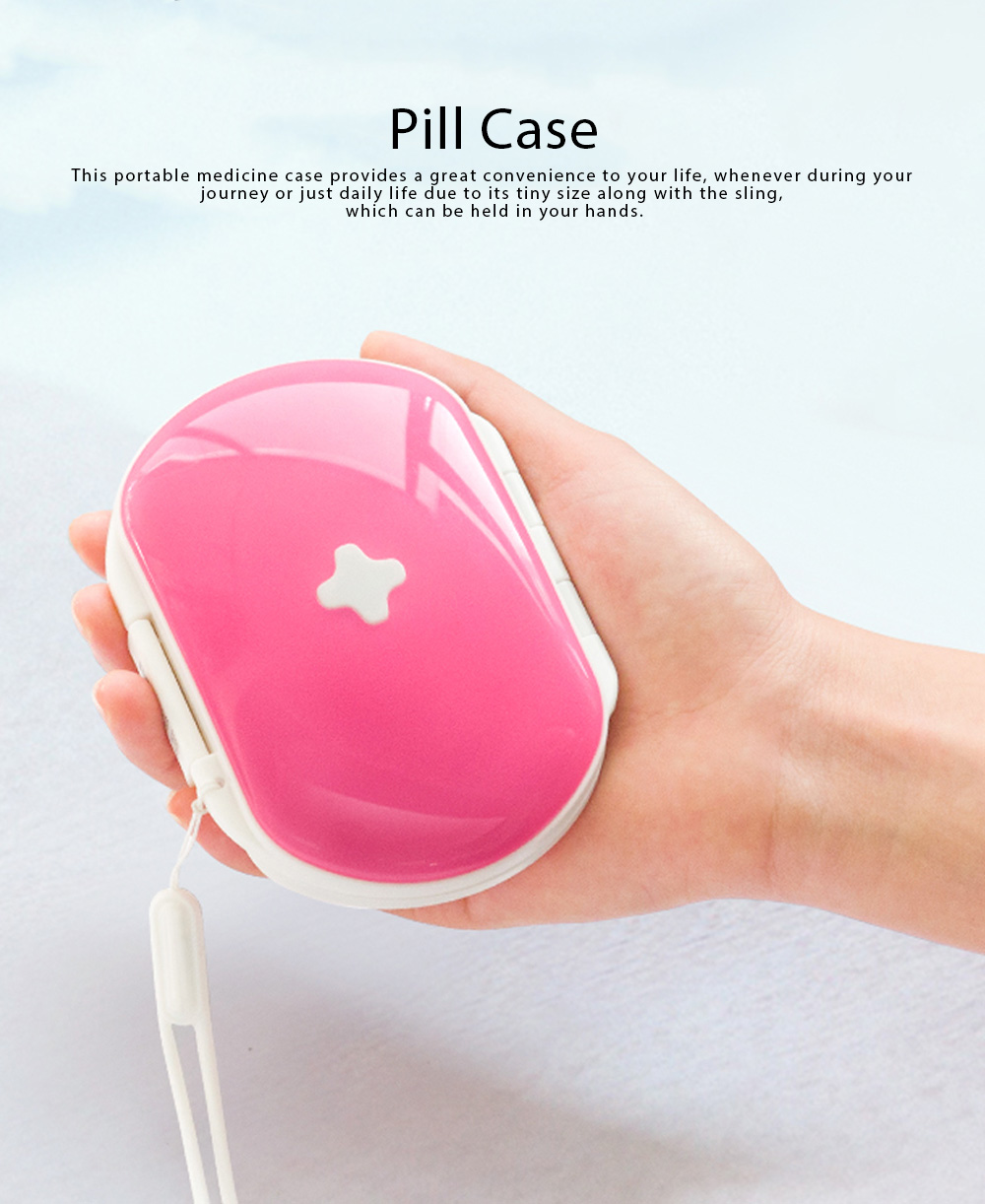 One Week Pill Box, Nontoxic PP Material Portable Medicine Container with Portable Strap Weekly Pill Case 0