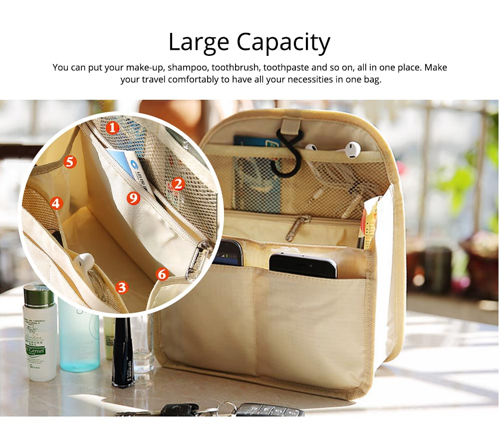 Travel Organizer Bag, Portable Makeup Bag with Hanging Hook, Large Capacity Cosmetic Storage Bag  5