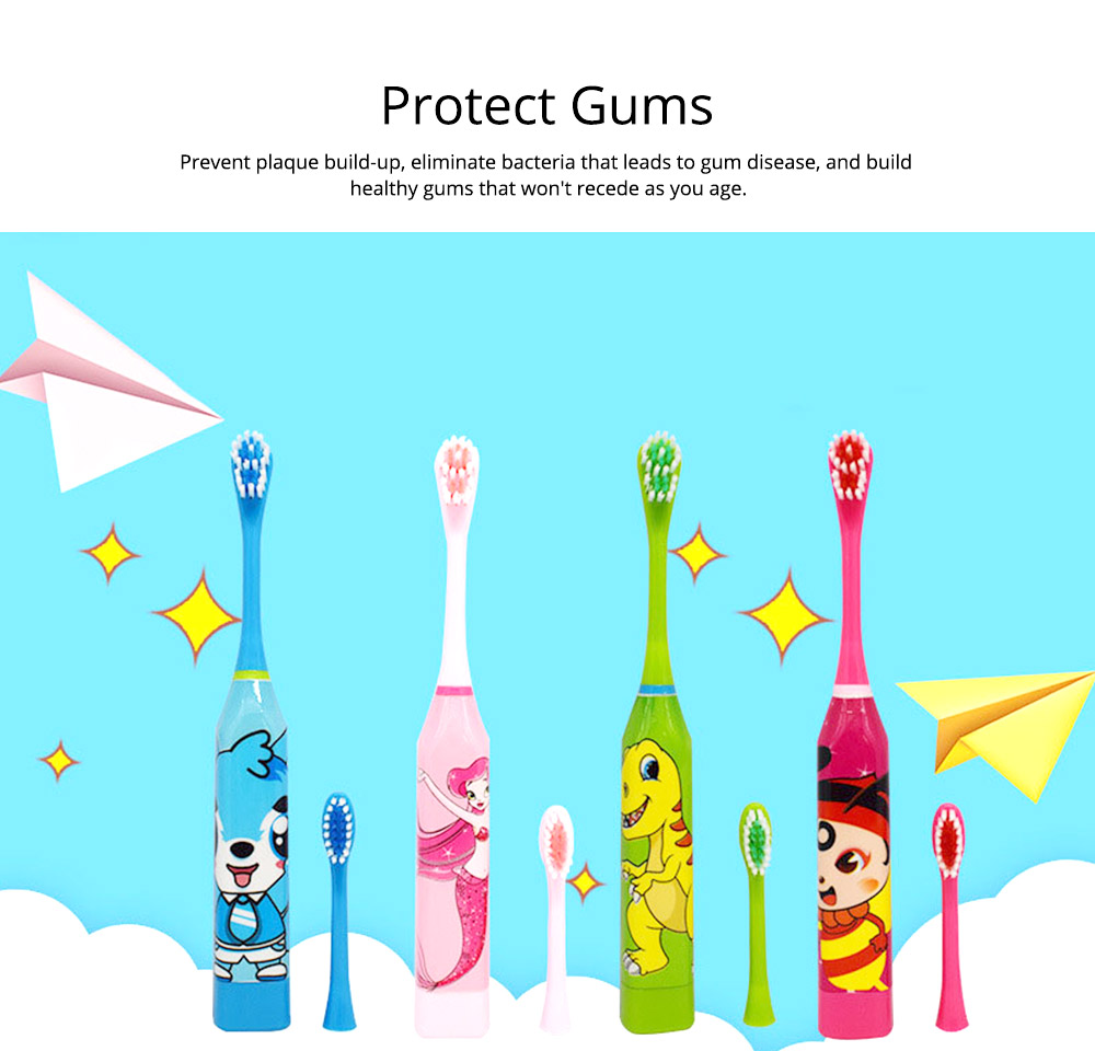 Kids Electric Toothbrush, Antimicrobial Floss Soft Bristles Waterproof Toothbrush for Travel, Sonic Electronic Toothbrushes for Kids 5