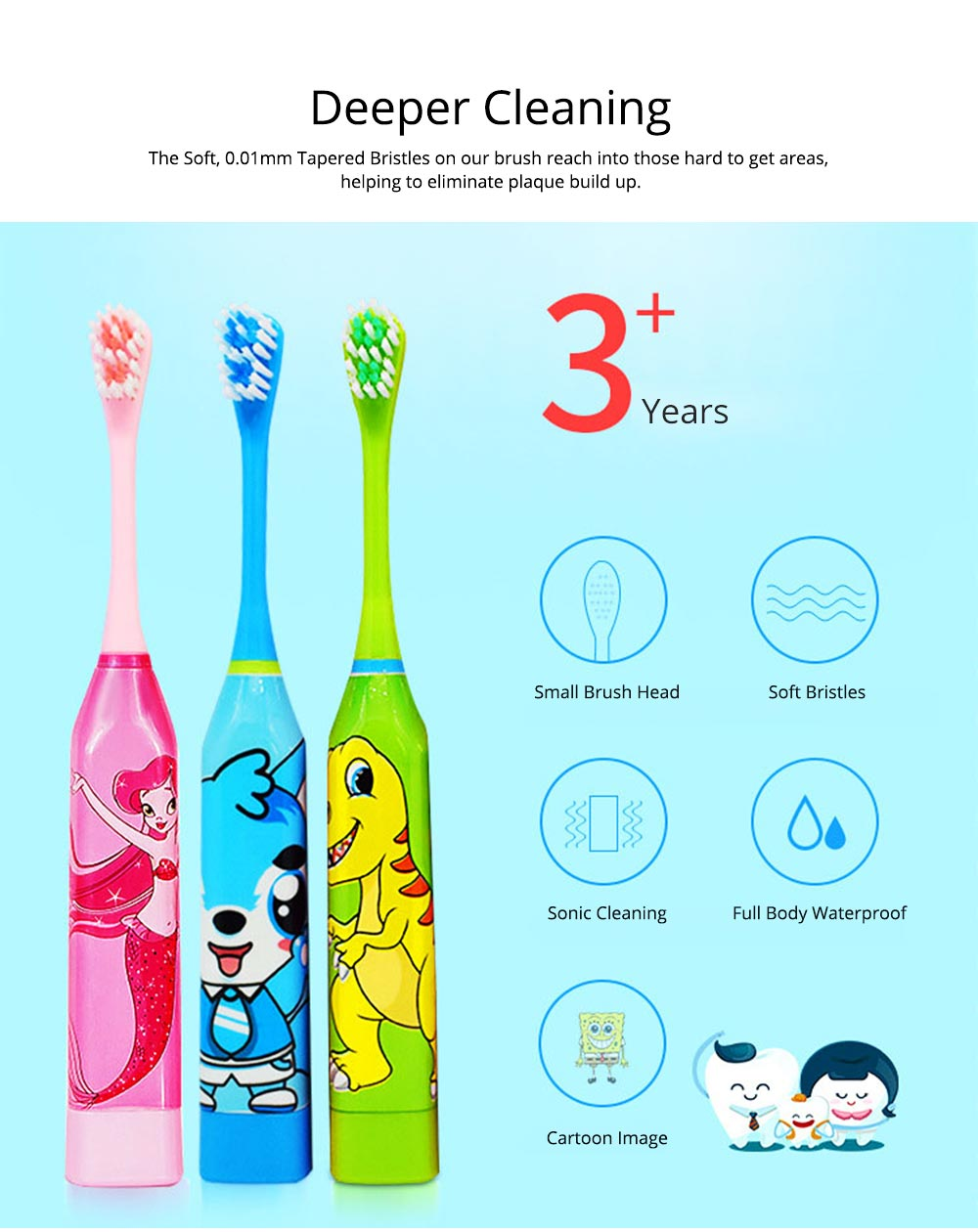 Kids Electric Toothbrush, Antimicrobial Floss Soft Bristles Waterproof Toothbrush for Travel, Sonic Electronic Toothbrushes for Kids 1