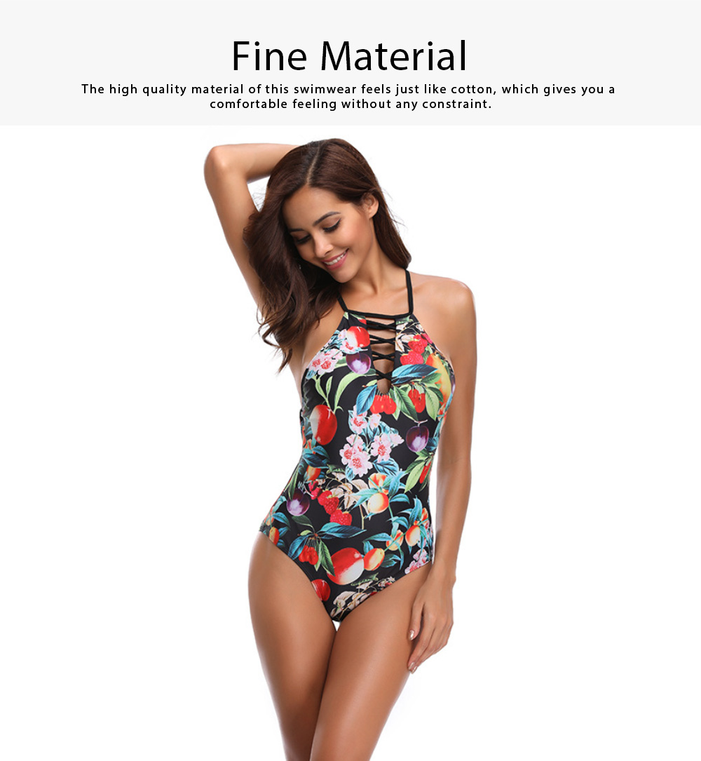 2019 Western Style Bikini Foreign Trade, Fashionable Sexy Fruit Printing One-piece Bikini, Dew Back Style Swim Wear 2