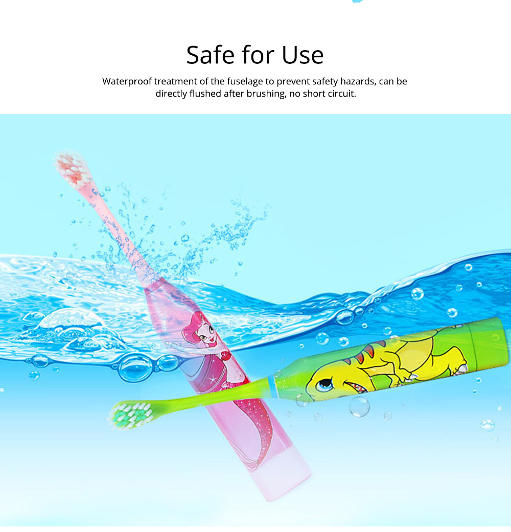 Kids Electric Toothbrush, Antimicrobial Floss Soft Bristles Waterproof Toothbrush for Travel, Sonic Electronic Toothbrushes for Kids 6