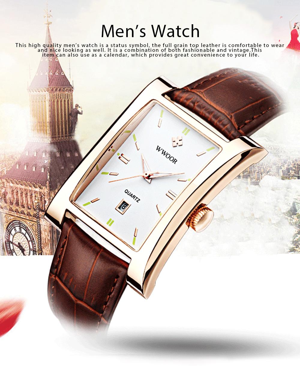 Luxury Wrist Watch for Men, High Quality Leather Strap Watch with Calendar, Waterproof Men's Watch 0