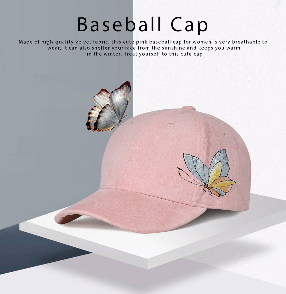 Suede Fabric Material Baseball Cap for Women, Embroidered Thicken Peaked Cap for Winter, Autumn, Butterfly Embroidery Cap 0
