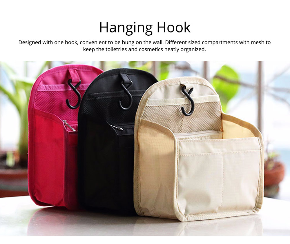 Travel Organizer Bag, Portable Makeup Bag with Hanging Hook, Large Capacity Cosmetic Storage Bag  6