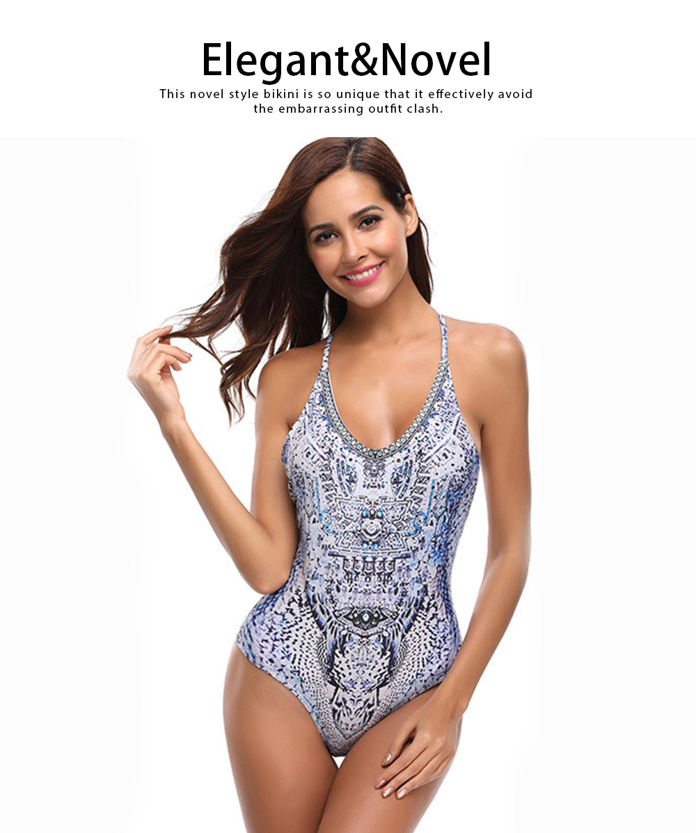 Sexy V-neck Swim Suit, European Style Pantherine Pattern One-piece Bikini, Crossing Strip Elegant Beach Wear Suit 2019 5