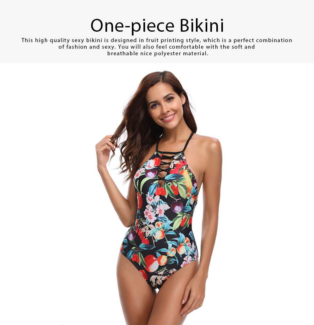 2019 Western Style Bikini Foreign Trade, Fashionable Sexy Fruit Printing One-piece Bikini, Dew Back Style Swim Wear 0