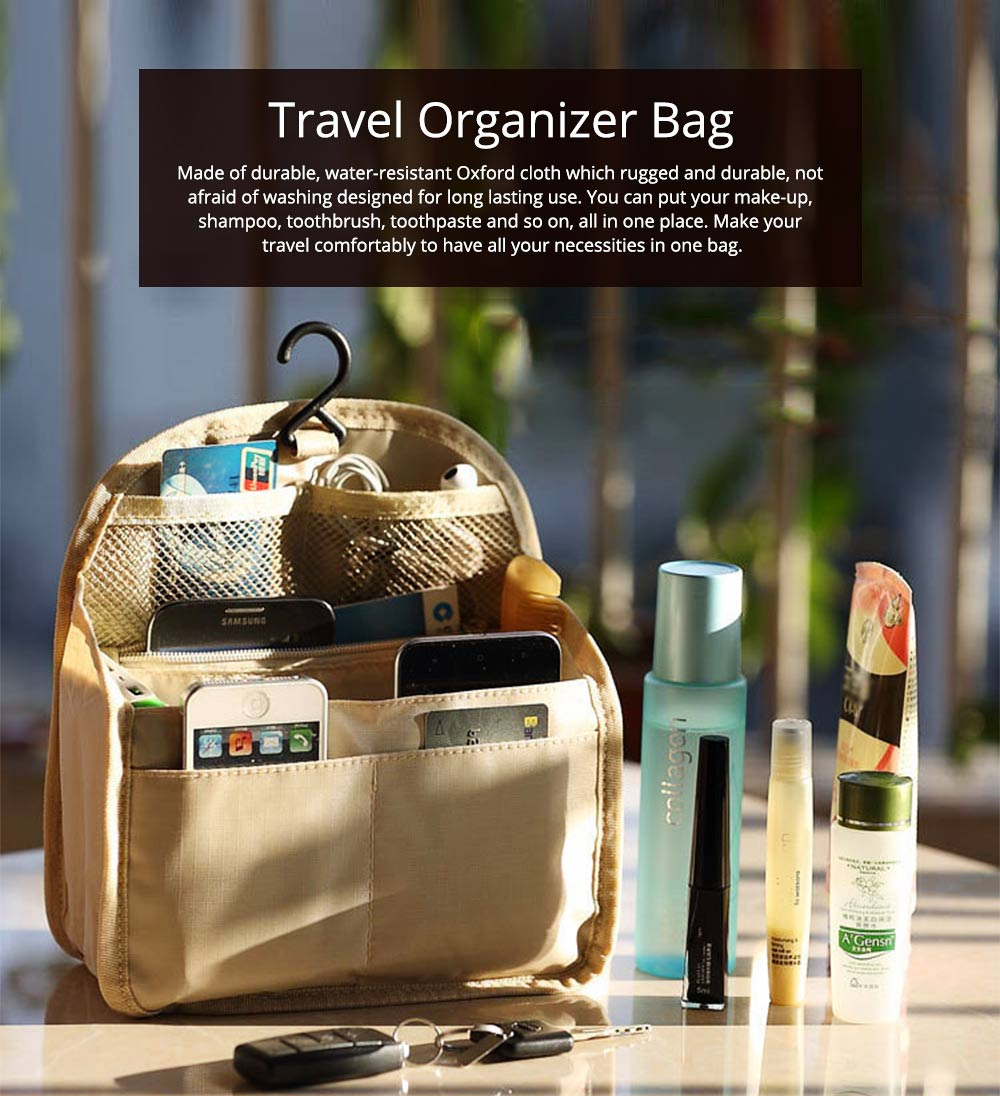 Travel Organizer Bag, Portable Makeup Bag with Hanging Hook, Large Capacity Cosmetic Storage Bag  0