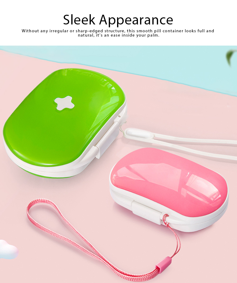 One Week Pill Box, Nontoxic PP Material Portable Medicine Container with Portable Strap Weekly Pill Case 3