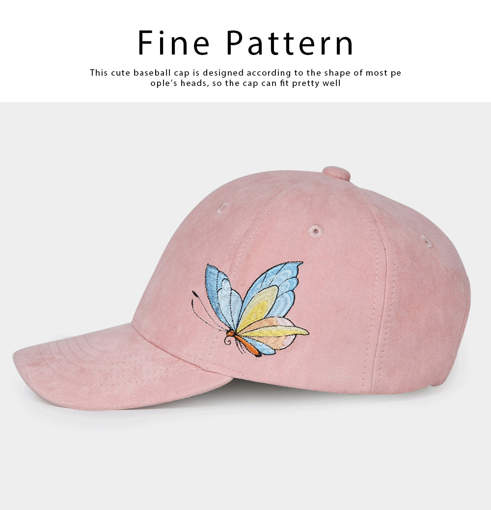 Suede Fabric Material Baseball Cap for Women, Embroidered Thicken Peaked Cap for Winter, Autumn, Butterfly Embroidery Cap 2