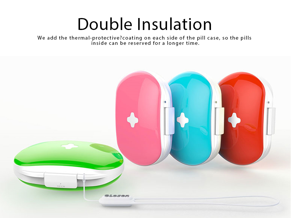 One Week Pill Box, Nontoxic PP Material Portable Medicine Container with Portable Strap Weekly Pill Case 6