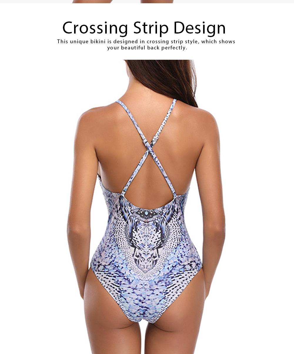 Sexy V-neck Swim Suit, European Style Pantherine Pattern One-piece Bikini, Crossing Strip Elegant Beach Wear Suit 2019 1