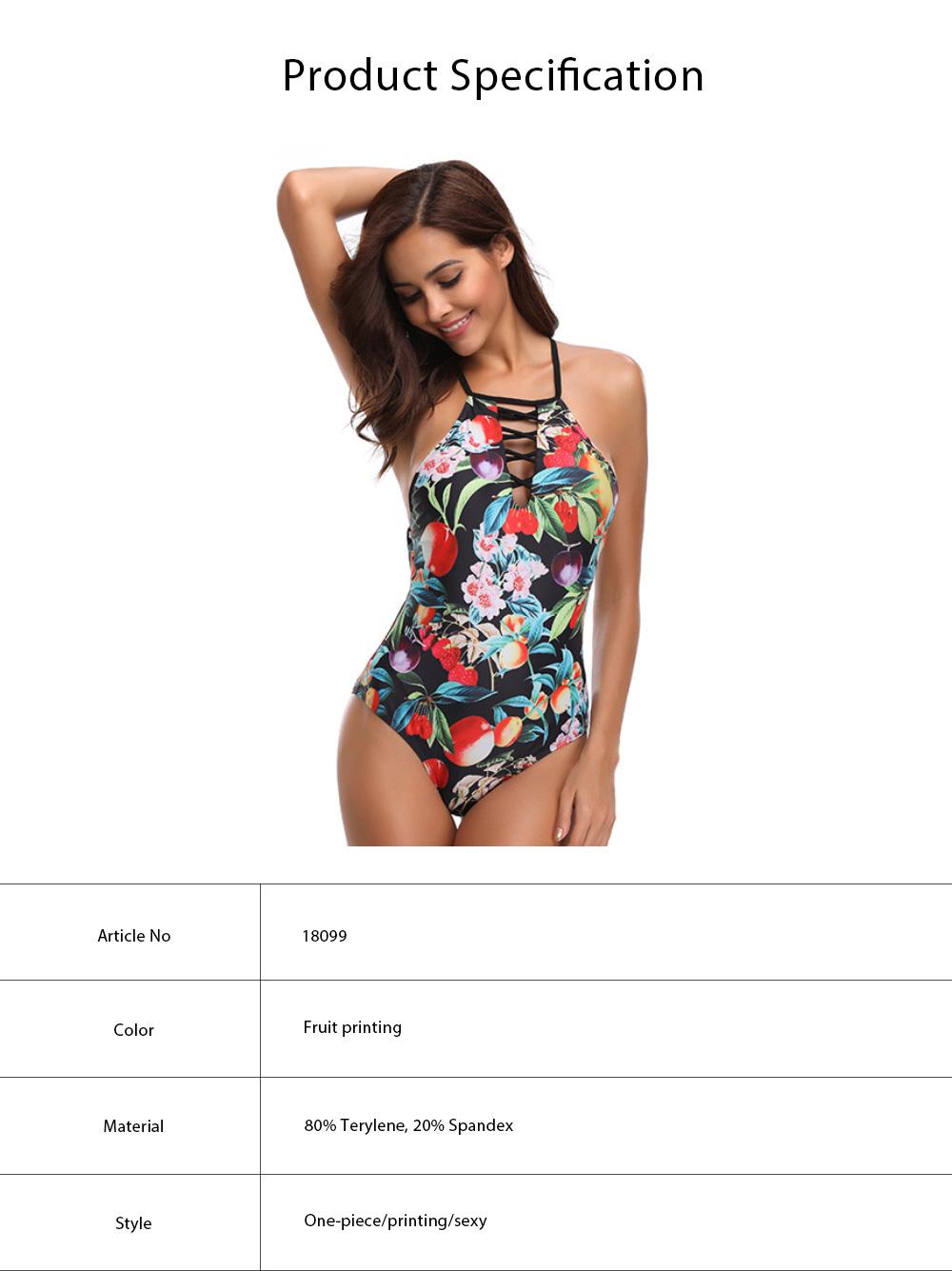 2019 Western Style Bikini Foreign Trade, Fashionable Sexy Fruit Printing One-piece Bikini, Dew Back Style Swim Wear 5