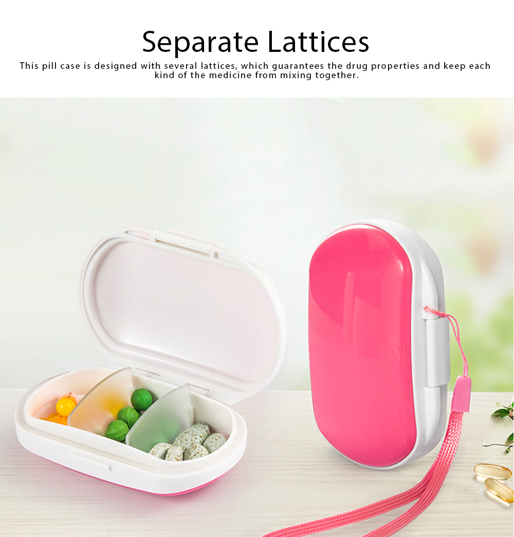 One Week Pill Box, Nontoxic PP Material Portable Medicine Container with Portable Strap Weekly Pill Case 7