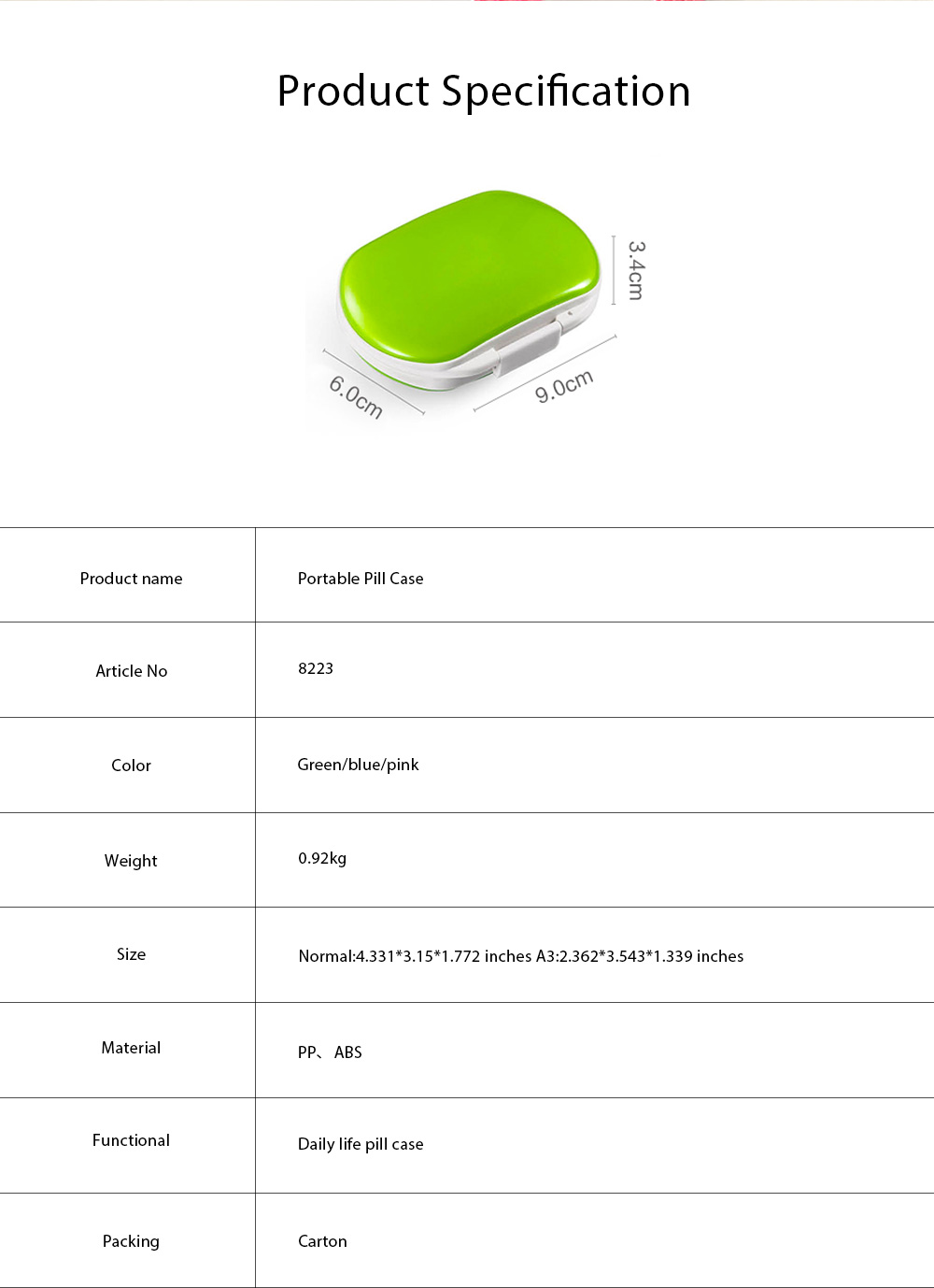 One Week Pill Box, Nontoxic PP Material Portable Medicine Container with Portable Strap Weekly Pill Case 8