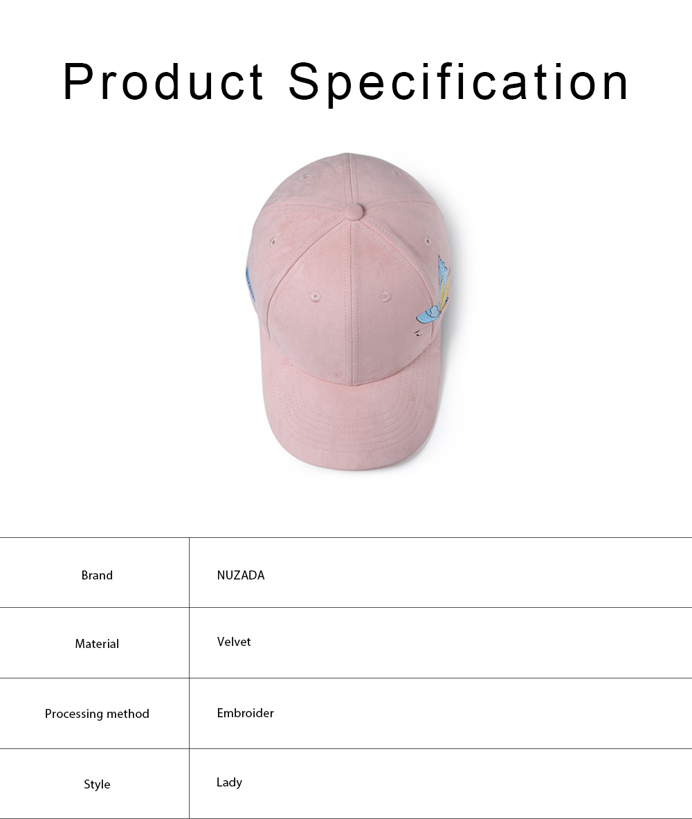 Suede Fabric Material Baseball Cap for Women, Embroidered Thicken Peaked Cap for Winter, Autumn, Butterfly Embroidery Cap 5