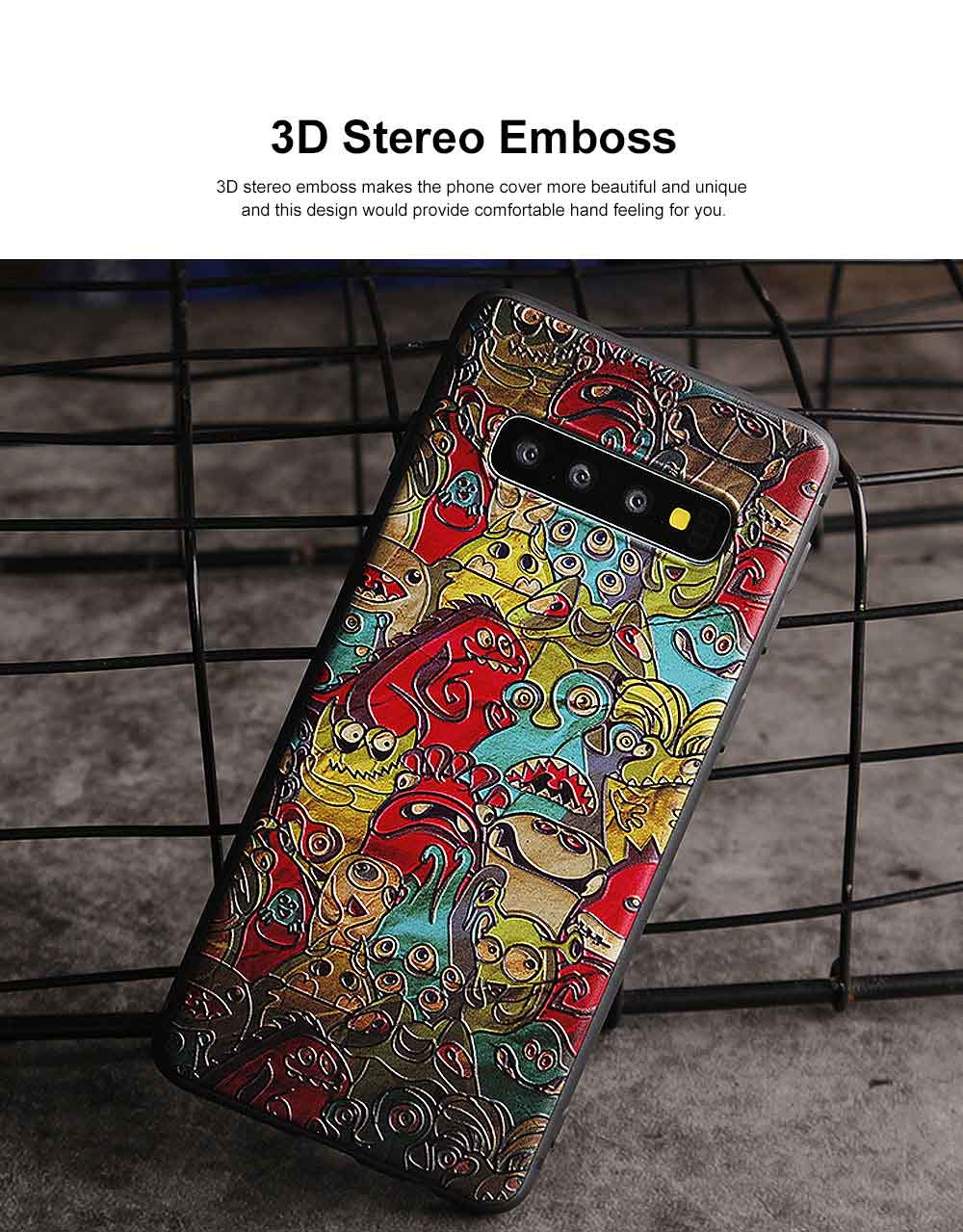Creative Stylish Carton 3D Emboss Phone Case, Soft Silicone Colorful Painting Phone Skins, Full Protection Phone Cover for Samsung S10+ S10e S10 Plus with Rope 1