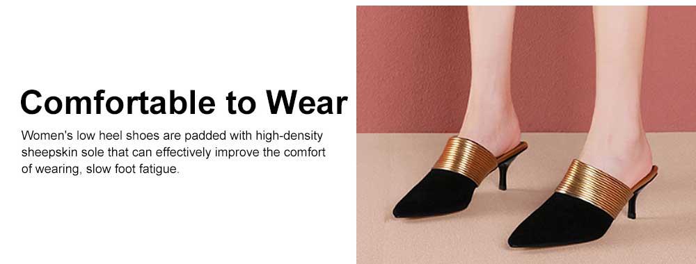 Women's Mid-heel Half Warped Shoes, Comfortable Pointed Toe Casual Shoe, Fashion Pure Color Slim Heel Stiletto Heels 2